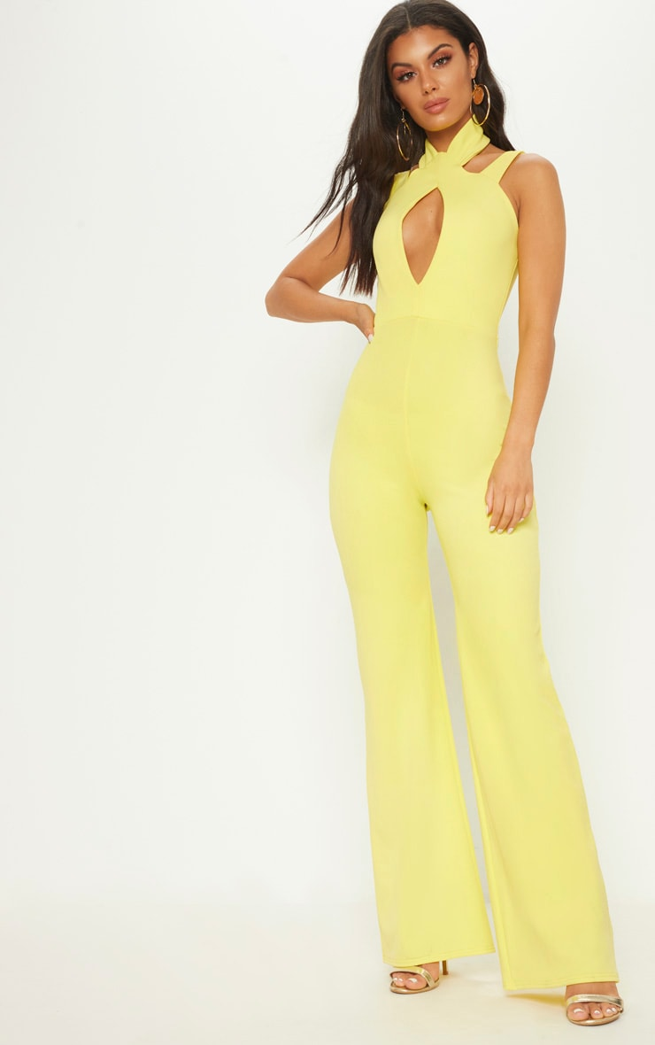 Yellow Keyhole Cut Out Jumpsuit