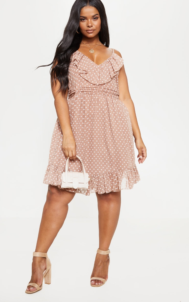 Plus Brown Polka Dot Strappy Frill Detail Skater Dress 4