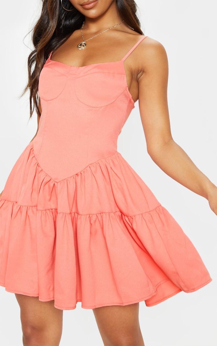 Peach Cup Detail Frill Hem Shift Dress 5