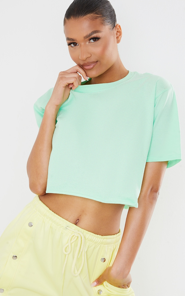 Green Los Angeles Graphic Back Print Cropped T Shirt 2