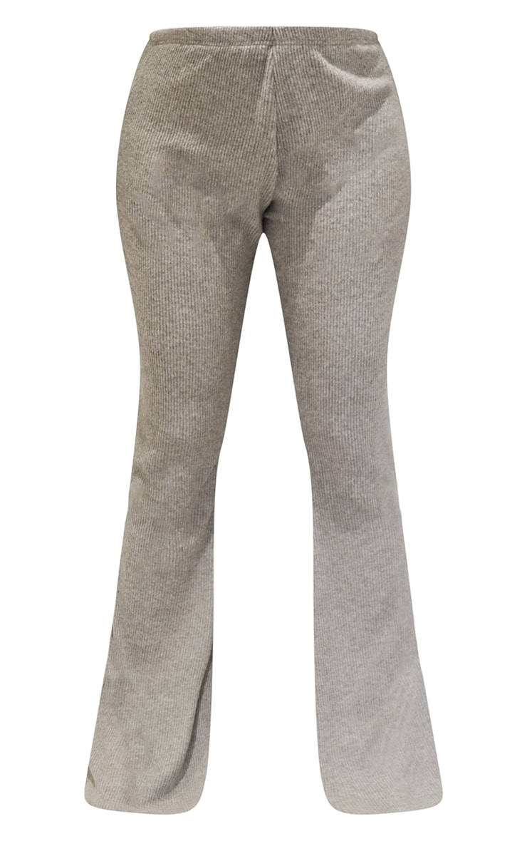 Maternity Grey Brushed Rib High Waisted Flared Trousers 5