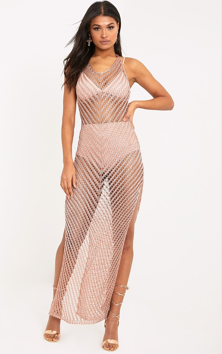 Paizlee Rose Gold Metallic Knit Halter Neck Dress 1