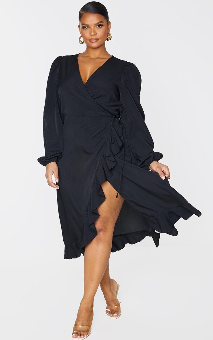 Plus Black Ruffle Wrap Front Midi Dress 3