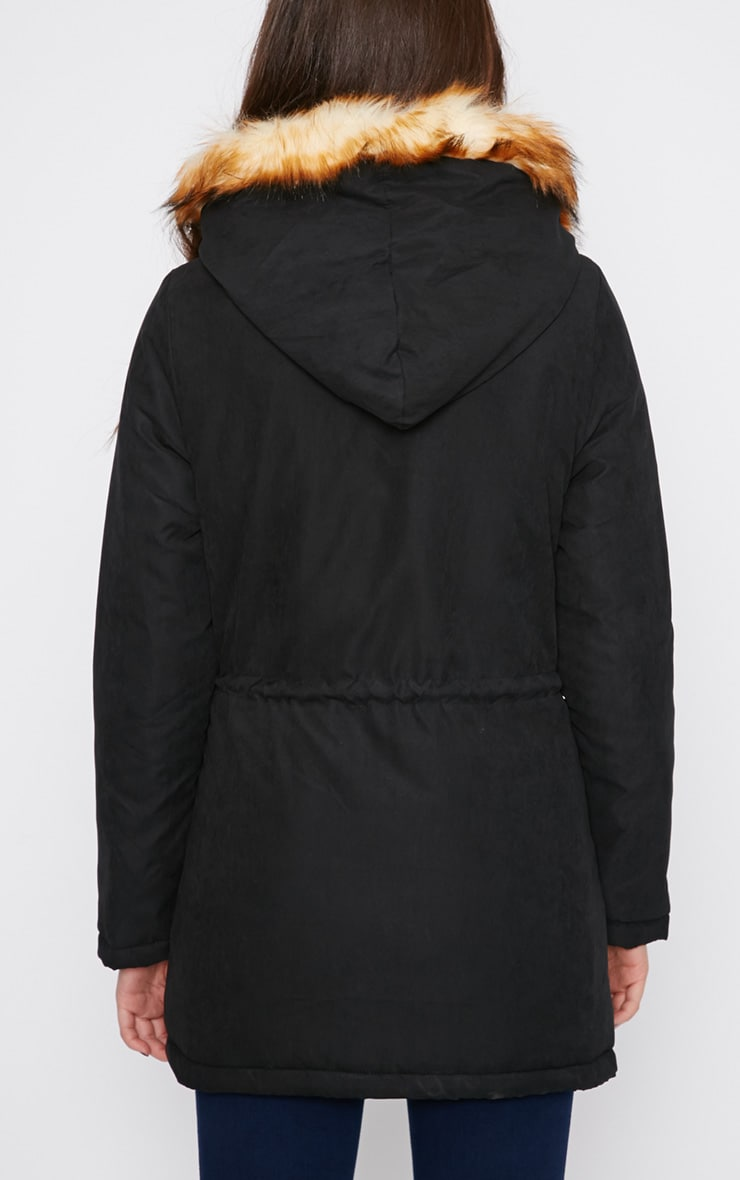Tawny Black Fur Lined Parka Coat  2