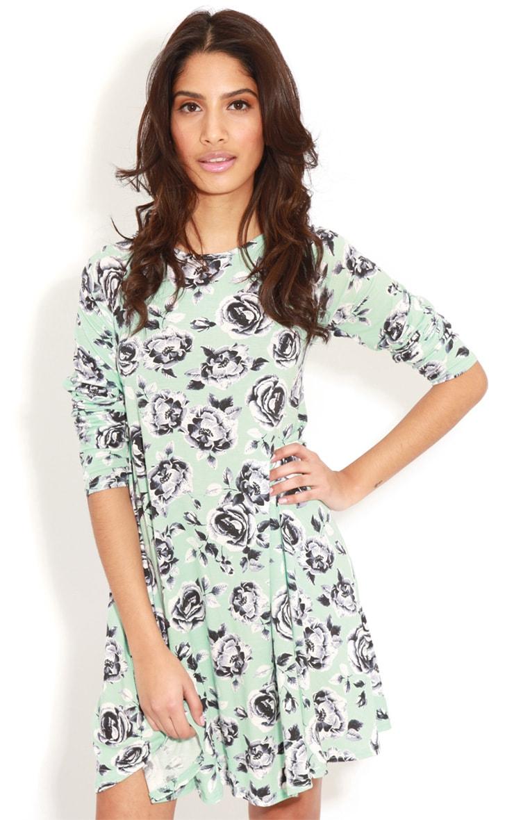 Macie Mint Floral Swing Dress  1