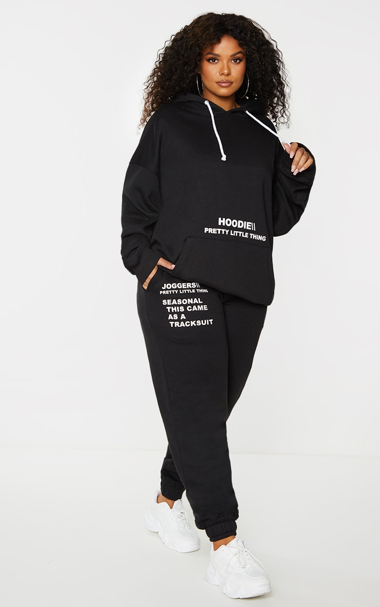 PRETTYLITTLETHING Plus Black Slogan Print Joggers 1