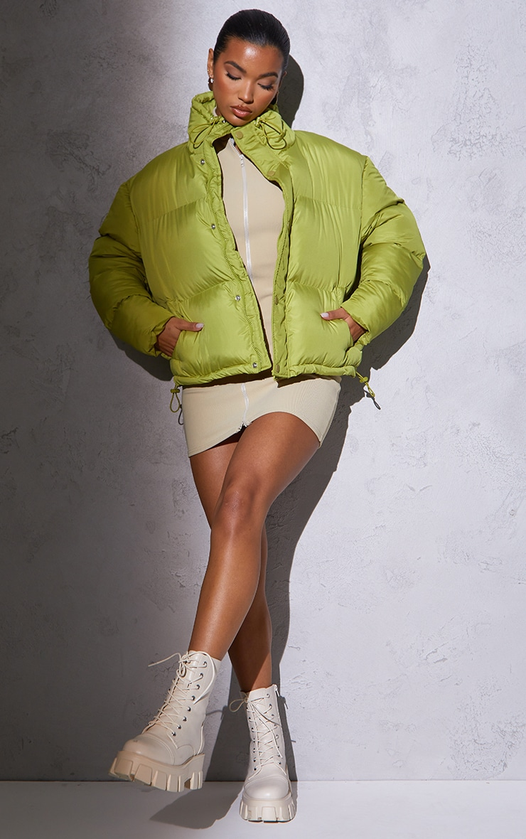 RENEW Olive Toggle Detail Puffer Jacket 3