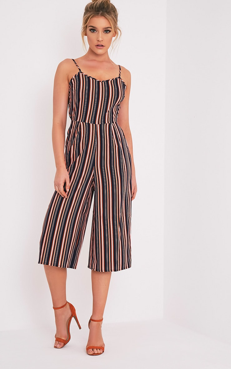 f1fab310237 Demsie Navy Stripe Culotte Jumpsuit - Dresses - PrettylittleThing ...