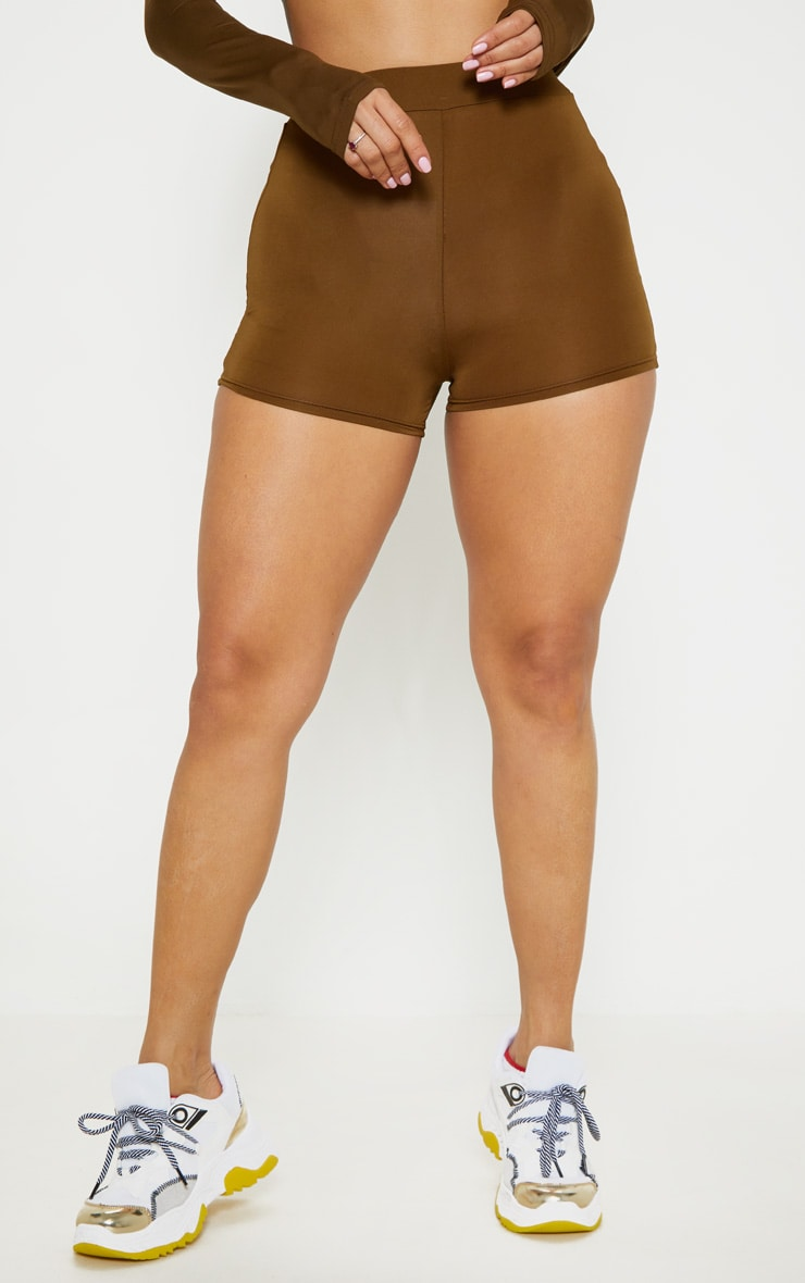 Khaki Elasticated High Waist Mini Shorts 2