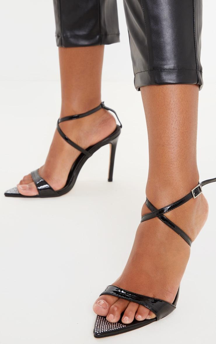 Sandales pointues noires à brides et strass 1