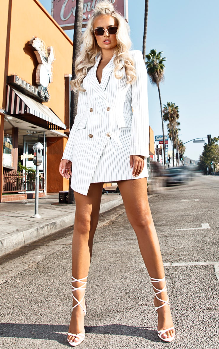 White Pinstripe Gold Button Blazer Dress