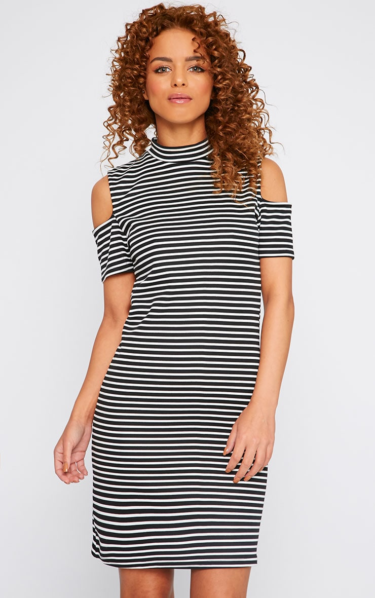 Rosa Monochrome Stripe High Neck Cut Out Mini Dress 4