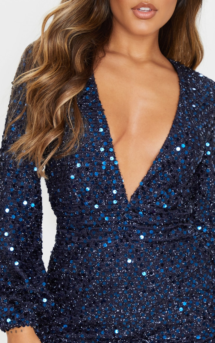 Navy Sequin Plunge Long Sleeve Bodycon Dress 5