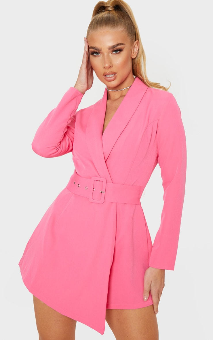 Pink Long Sleeve Tailored Belted Playsuit 1