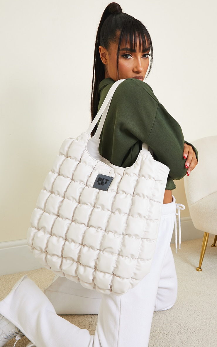 PRETTYLITTLETHING White Padded Tote Bag 1