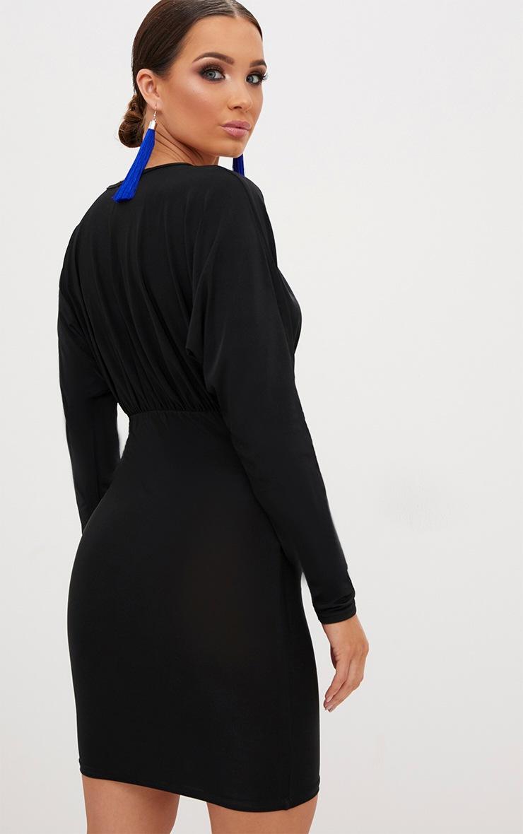 Black Plunge Batwing Bodycon Dress 2