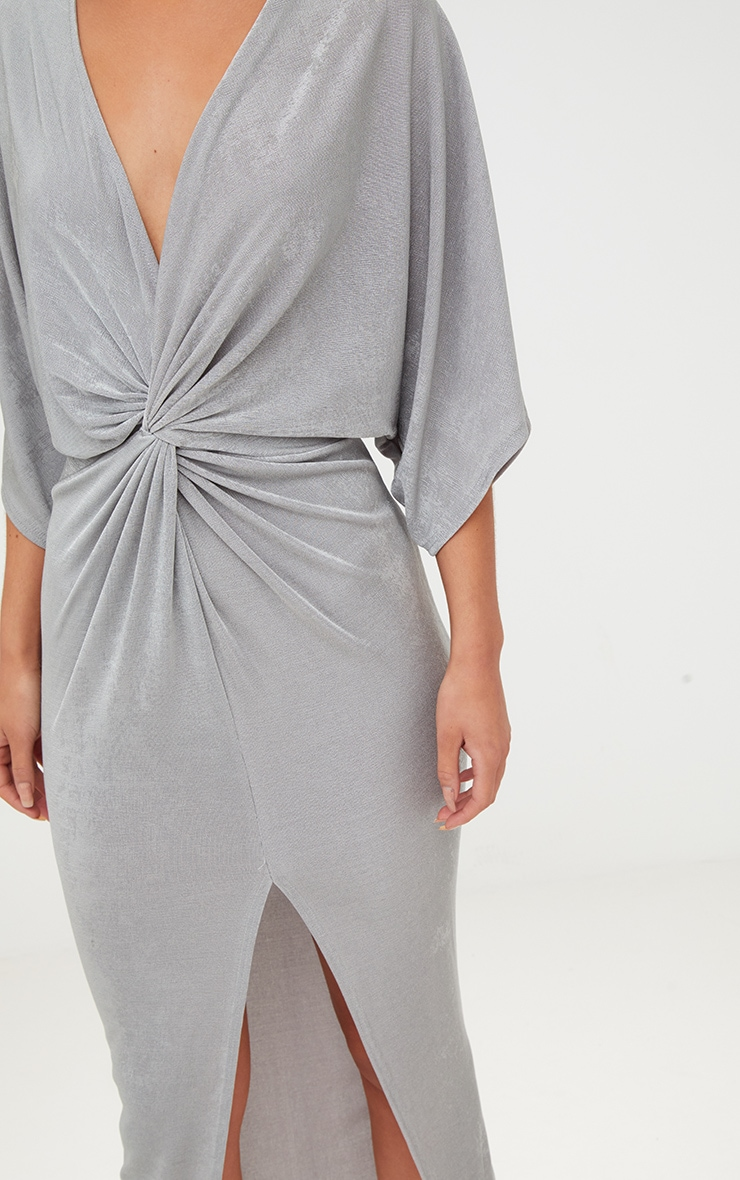 Ice Grey Slinky Twist Front Kimono Sleeve Midi Dress 5
