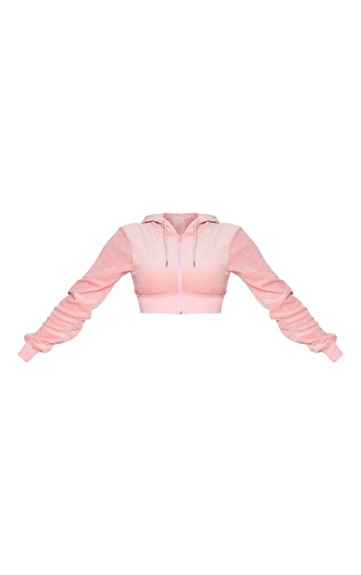 PRETTYLITTLETHING Shape Dusty Pink Velour Extreme Crop Sweater 5