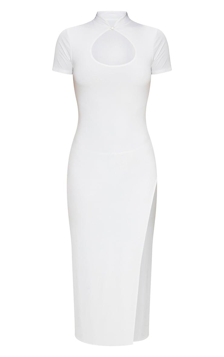 White Slinky Short Sleeve High Neck Detail Split Midaxi Dress 5