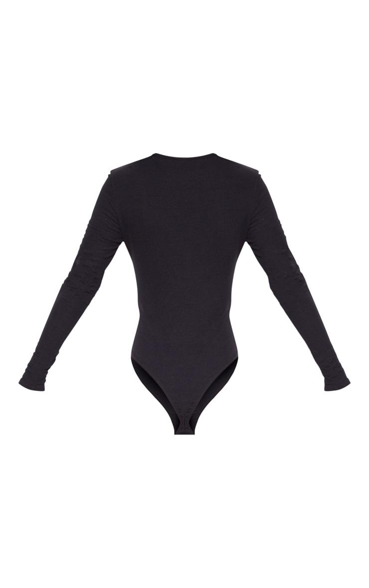 Black Soft Rib Popper Detail Long Sleeve Bodysuit 4