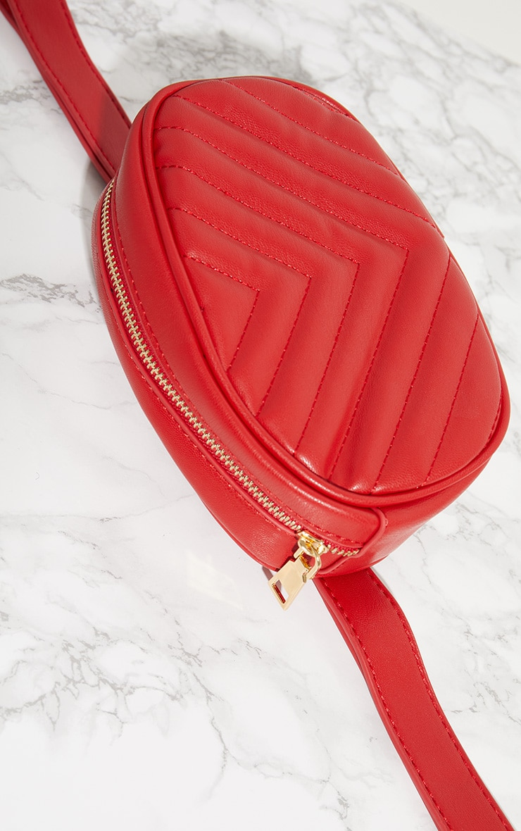 Red Chevron Quilted Bum Bag 5