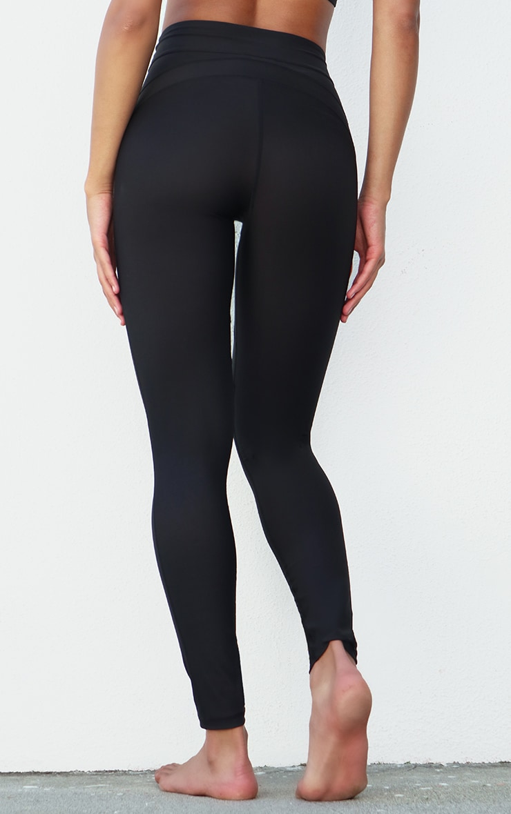 Black Premium Contrast Panel High Waist Gym Legging 3