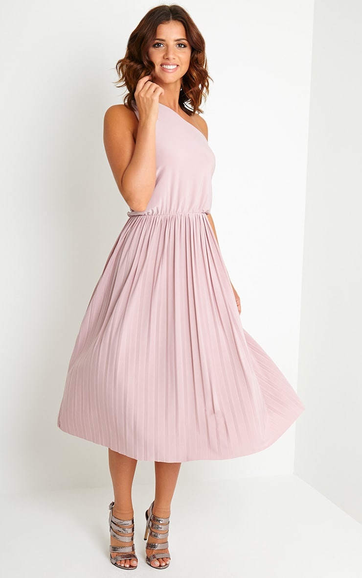Carey Mauve One Shoulder Pleated Dress 1