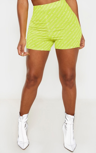 PRETTYLITTLETHING Shape Neon Lime Slinky Hot Pants