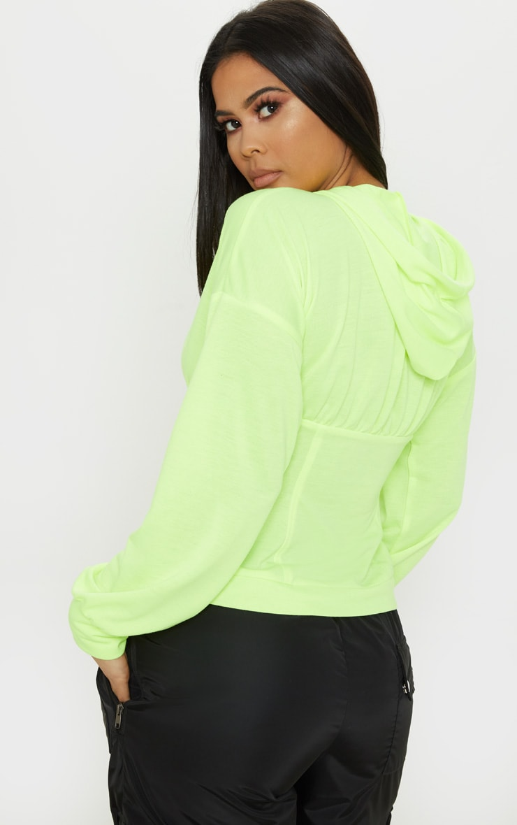 Neon Lime Ruched Zip Front Hoodie 2