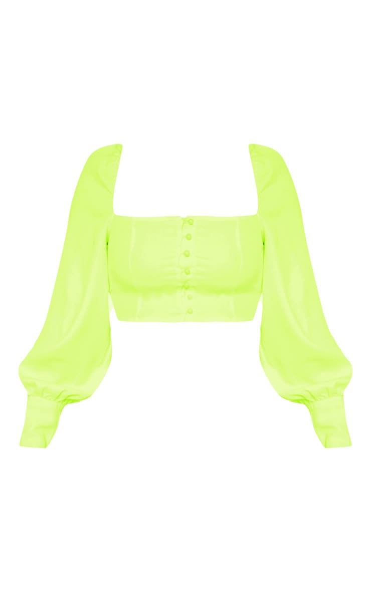 Neon Lime Button Front Puff Sleeve Top 3