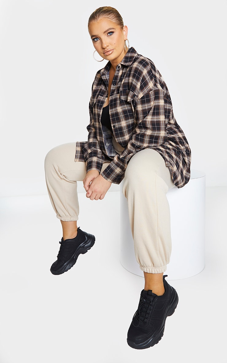 Plus Chocolate Brown Checked Oversized Shirt 1