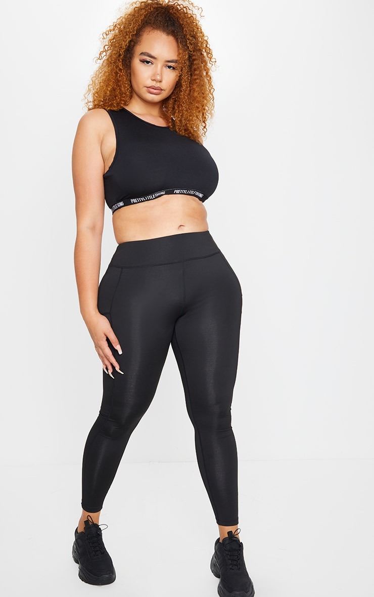 Plus Alexis Black Panelled Gym Leggings 1