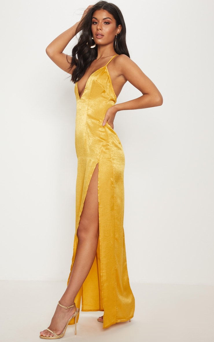 Gold Satin Slip Maxi Dress 1