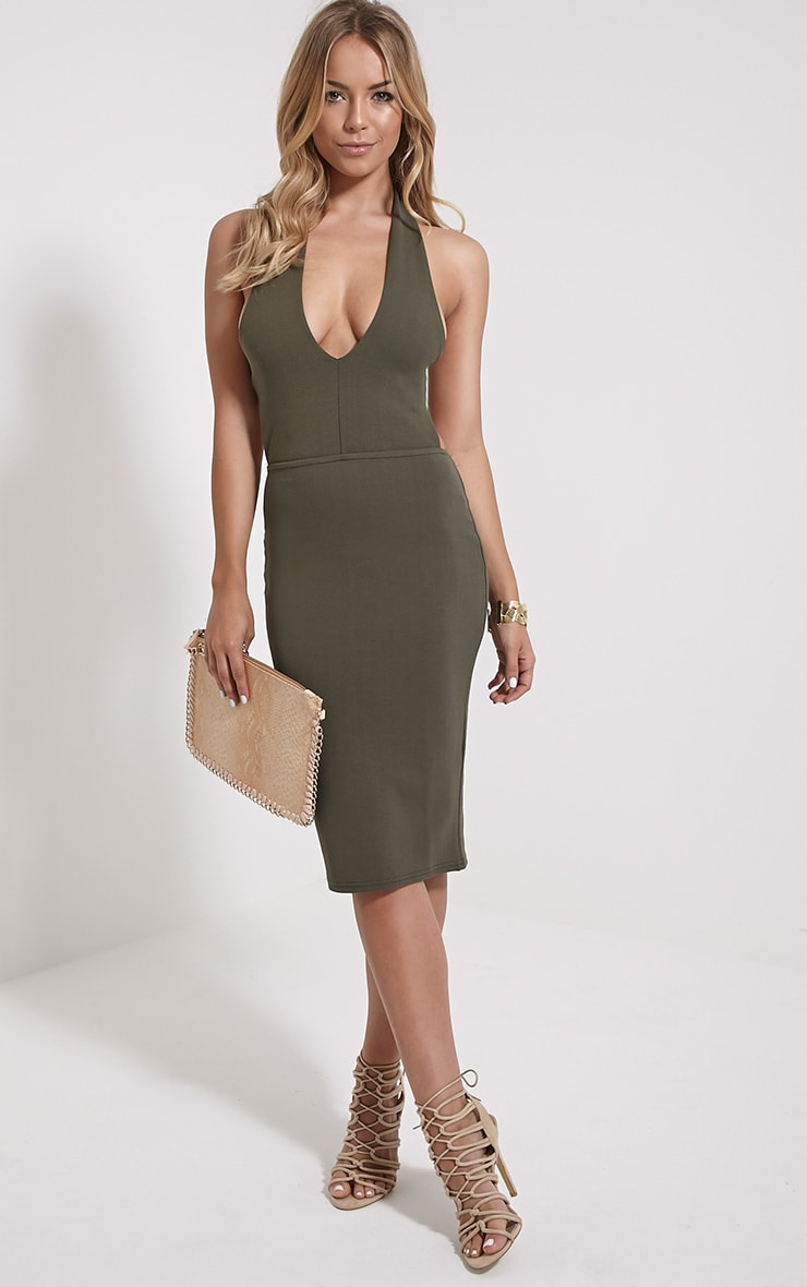 Rosa Khaki Halterneck Midi Dress 1