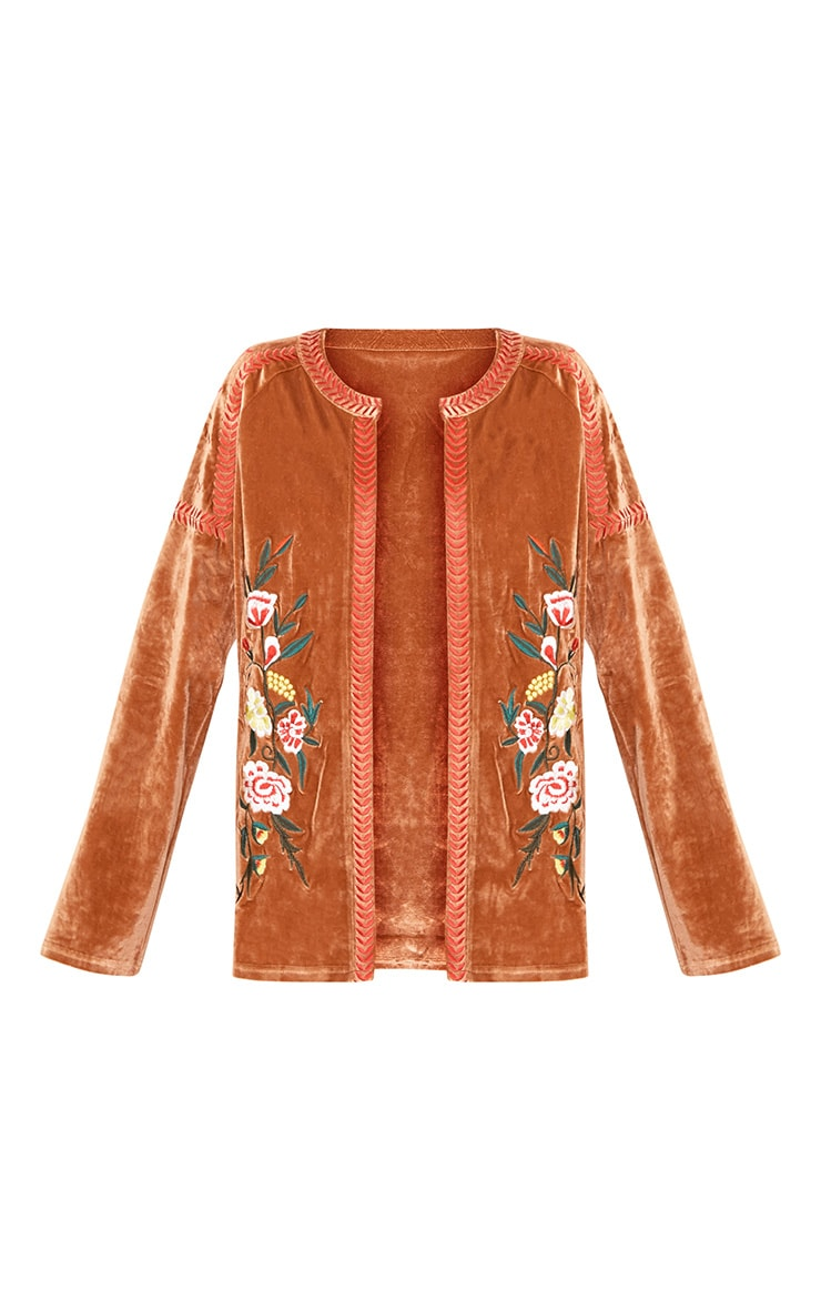 Karensa Tan Floral Embroidered Velvet Jacket 3