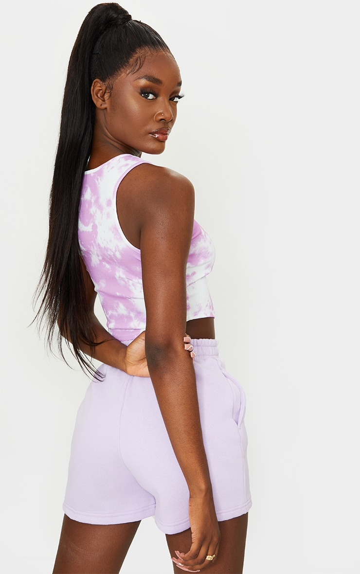 Tall Lilac Tie Dye Rib Racer Neck Crop Top 2