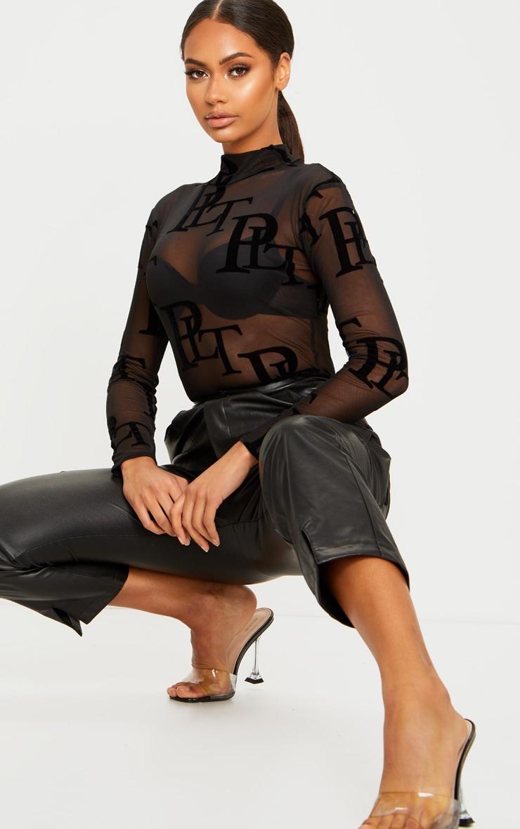 PRETTYLITTLETHING - Body manches longues noir à monogramme 1
