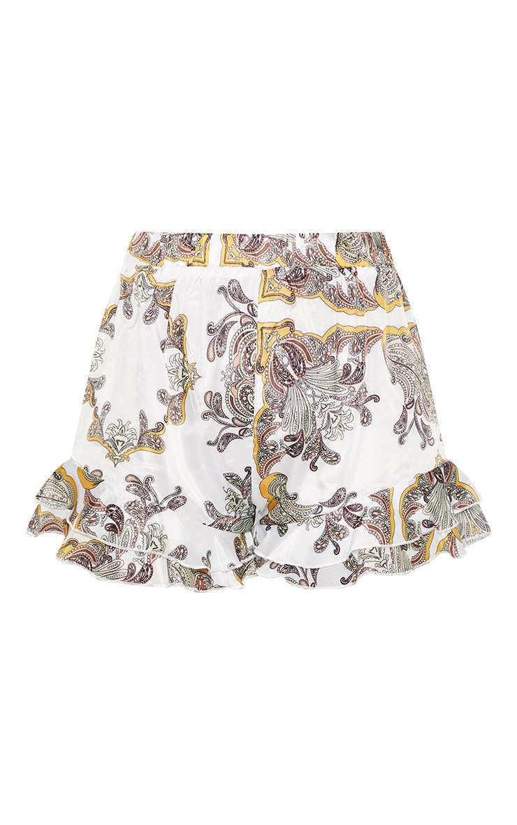 Tall White Paisley Frill Hem Shorts 3