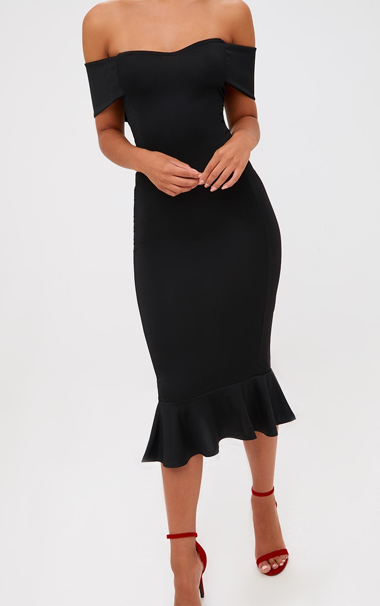 Black Bardot Frill Hem Midi Dress 5