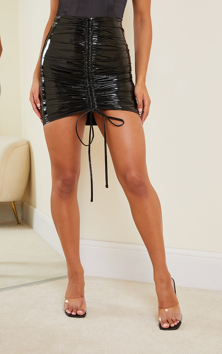 Black Vinyl Ruched Front Mini Skirt 2