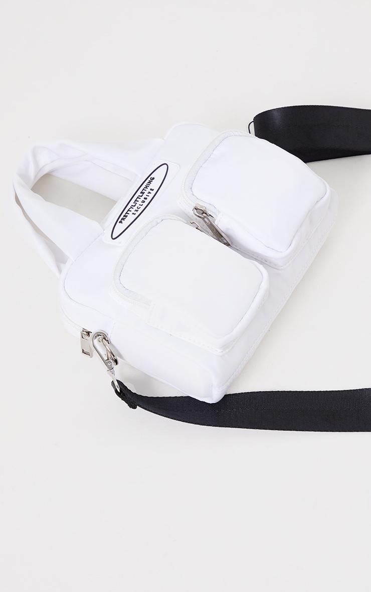 PRETTYLITTLETHING White Nylon Double Front Pocket Cross Body Bag 3