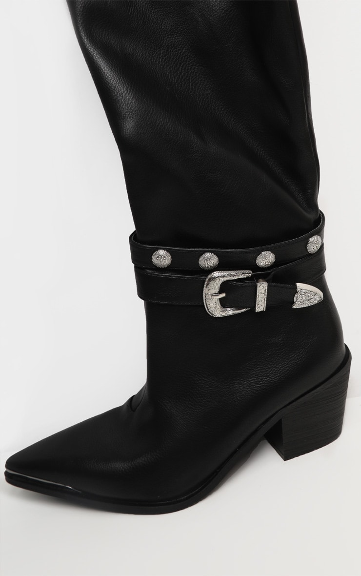 Black Thigh High Studded Buckle Western Boot 4