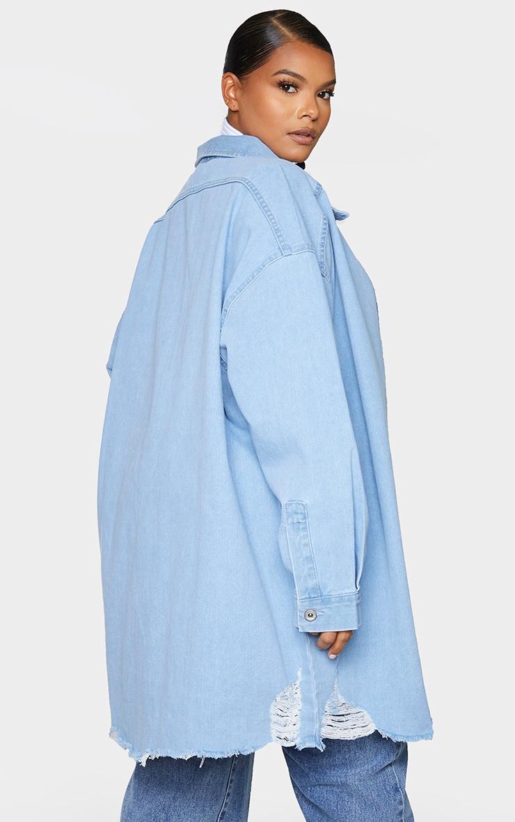 Plus Mid Blue Oversized Ripped Hem Denim Shirt 2