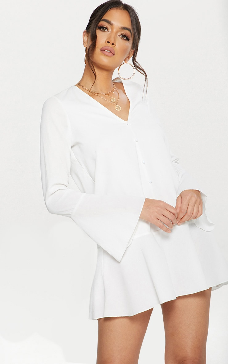 White Button Frill Hem Shift Dress