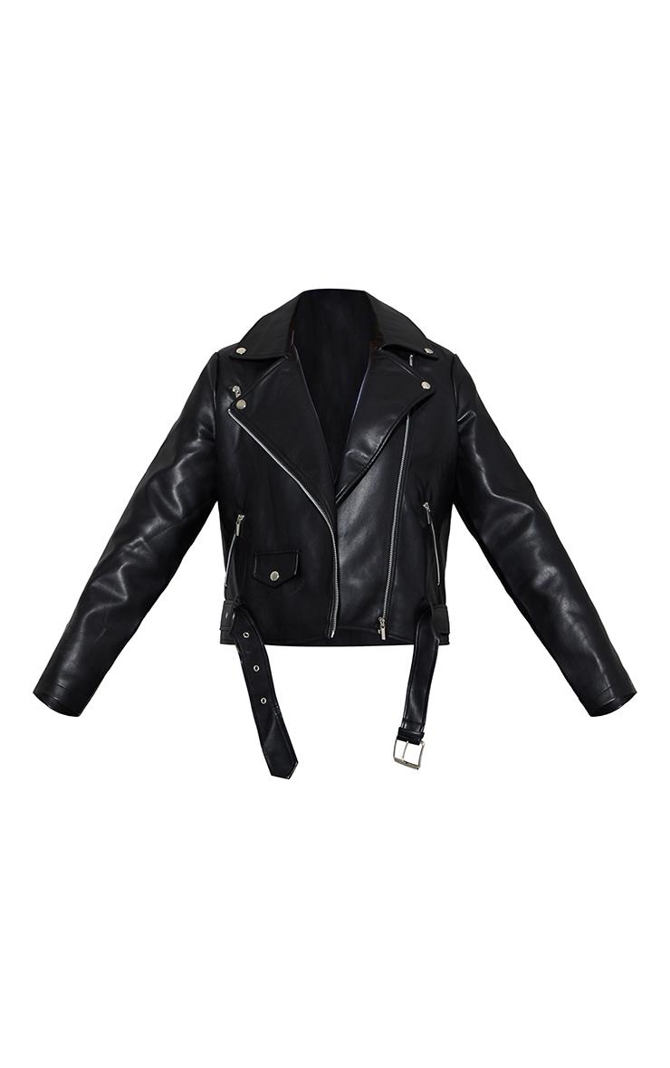 Black Faux Leather Zip Trim Belted Biker Jacket 5