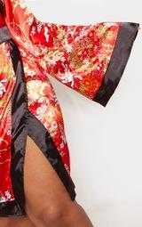 Plus Red Bardot Oriental Flare Sleeve Bodycon Dress 5
