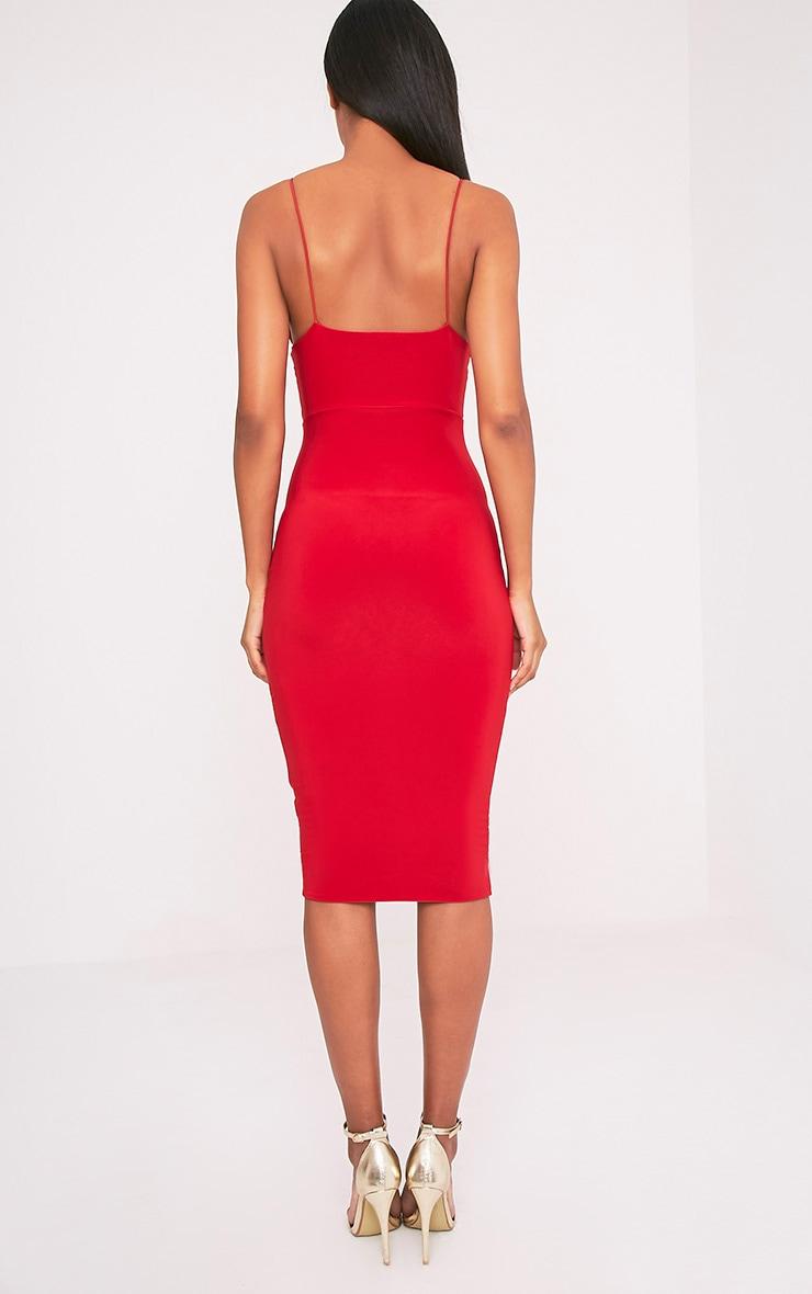 Elle Red Slinky Strappy Plunge Midi Dress 2