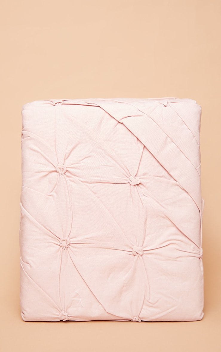 Dusty Pink Ruched Pin Tuck King Duvet Set 3