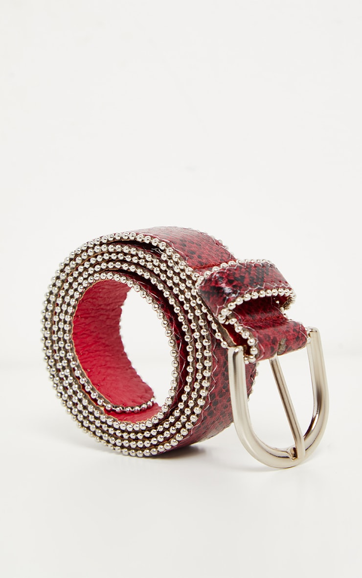 Burgundy Snake Print Ball Chain Belt 2