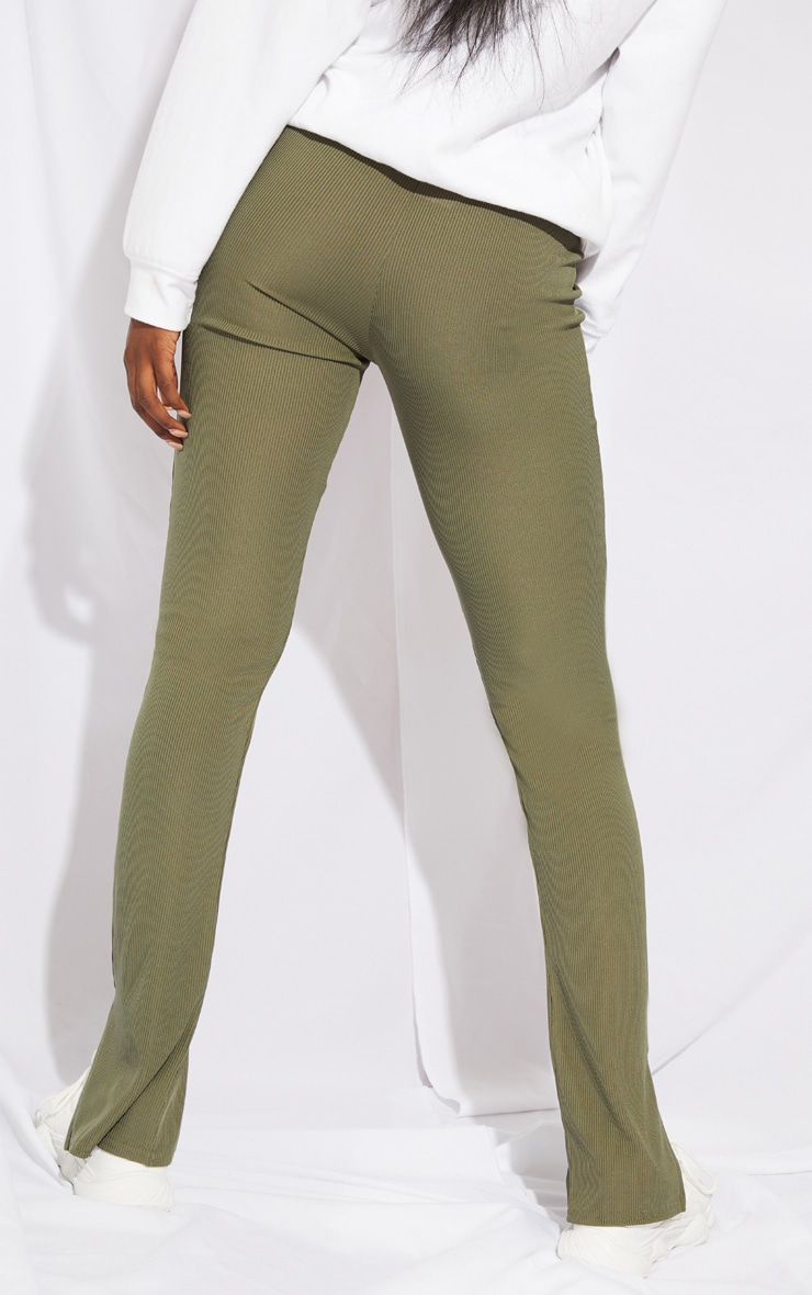Tall Khaki Ribbed Split Hem Trousers 3